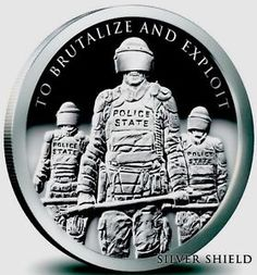 #Police State 1 OZ .999 #Silver proof Round Facisim Cops Police #Coin Silver Shield