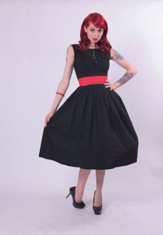 50s Dress - Black Cotton with Red Cummerbund Belt and Rhinestone Buttons SMALL