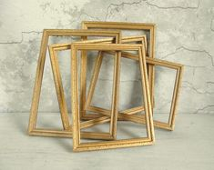 Open Gold Wood Frames Set of 5 Vintage Wood Frames Cottage | Etsy Metal Tool Box, Metal Tools, Wood Frames, Industrial House, Gold Wood, Cottage Chic, Vintage Wood, I Am Awesome, Wedding Decorations