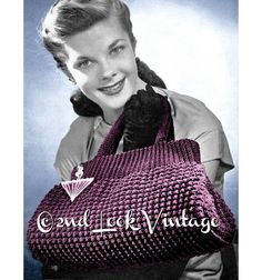 A fabulous purse to crochet from the 1940s Styled like a Doctors satchel bag with a double handle Worked in a shell stitch pattern with a shirred, ribbed top The zip closure & side gussets make this the perfect handbag Get creative and add a vintage Lucite or Bakelite zipper pull !  Crochet this lovely tote in Corde with a No. 5 hook ( interchangeable with Ribbonette, Straw or Soutache) A modern substitute will be a Fingering weight yarn or size 3 crochet thread  ♥´¨) ¸.•´ ¸.•*´¨)¸.•*¨)…