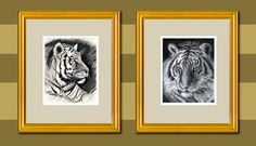 2 Art Prints Lion and Tiger for 35 Dollars Each print by Tiger Drawing, In The Zoo, Graphite Drawings, Charcoal Drawing, Tiger Print, Learn To Draw, Designs To Draw, Animal Drawings, Gifts For Mom