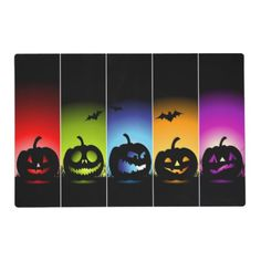 Multi-Color Halloween Pumpkin Laminated Placemats