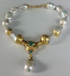 25-28 mm baroque pearls - emeral - opal -tourmalines -22k gold - handmade by Michele Delville.