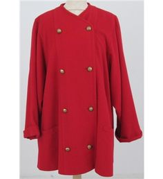 £35 Jaeger wool red coat, with a loose cut and oversized sleeves, military golden buttons and front pockets. It extremely stylish, cozy and fetching. Ideal for a feminized military look with knee high boots. This garment is the chic itself.Measures: 40 bust,