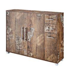 kommode im shabby design grau wei mit 8 schubf chern holzregal anrichte antik k che. Black Bedroom Furniture Sets. Home Design Ideas