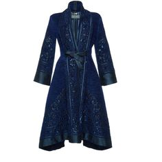 Alberta Ferretti     Jacquard Belted Jacket ($2,800) ❤ liked on Polyvore featuring outerwear, jackets, alberta ferretti, belted wrap jacket, blue jackets, alberta ferretti jacket and a line jacket
