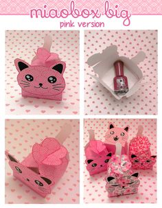CAT printable box treat party favor box animal box gift by Miaobox