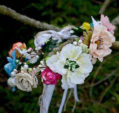 Haarschmuck & Kopfputz - Hochzeit haarschmuck blumenkranz Boho - ein Designerstück von Wandadesign bei DaWanda