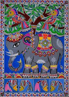 The Royal Elephant Madhubani Art Madhubani Paintings Peacock, Madhubani Art, Indian Art Paintings, Texture Drawing, Texture Painting, Tree Of Life Painting, Painting Art, Indian Folk Art, Bird Illustration