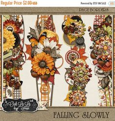 On Sale 50% Autumn Falling Slowly Fall 12inch Page Borders