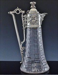 AMAZING c1880 VICTORIAN SILVER PLATE  CUT GLASS WINE EWER CLARET PITCHER JUG