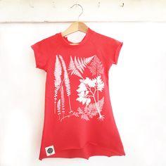 Hipster Kids Girl Dress, Red Cotton Screen Printed Toddler Tee Shirt Dress / Tunic, Botanical Theme, Sizes US 2-6, Trendy Kids Dress by KidAShop on Etsy