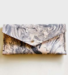 Marble-Dyed Leather Envelope Wallet | Use this pretty, marble-dyed envelope pouch as an oversized wa... | Clutches & Special Occasion Bags