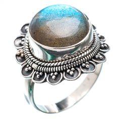 Blue Flash Labradorite Silver Ring Handmade Silver Ring