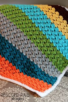 Crochet Blanket Pattern using the Blanket Stitch via Rescued Paw Designs. Tutorial