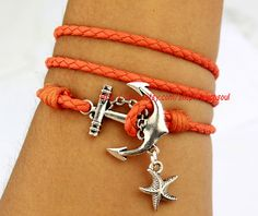 Anchor bracelet starfish jewelry antique silver by itouchsoul, $3.99