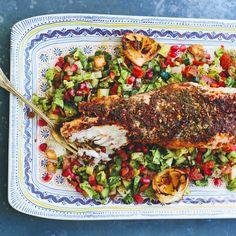Sumac & Za'atar Roasted Monkfish recipe on Seafood Recipes, Cooking Recipes, Healthy Recipes, Healthy Dinners, Dinner Recipes, Roast Fish, Lebanese Recipes, Recipe Directions, Mediterranean Dishes