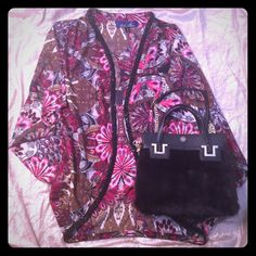 Gorgeous beaded  tunic Worn only once.  Beaded detailing all the way around trim.  The colors are rich and gorgeous.  Size s.  Excellent condition.  Accessories listed separately/not included.  Ask any and all questions  Tops