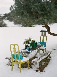 Colorful and snowy outdoor dining
