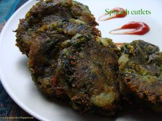 Spinach / palak cutlets