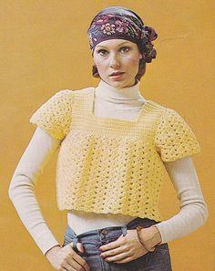 Vintage Crochet Beginner Pullover Smock