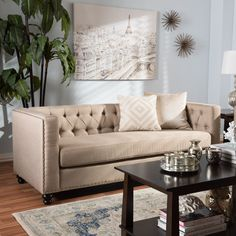 Contemporary Fabric Sofa by Baxton Studio (Beige)