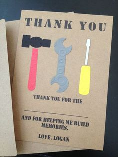 Construction Tools Thank You Cards, Custom Made for Kid's Birthday Party on Kraft Paper, Construction Party Thank You Cards and Construction Invitations #constructionbirthday