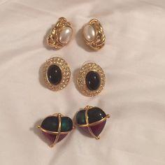 Earring Trio Three Pairs of Earrings- assortment as shown - for Pierced Ears Jewelry Earrings