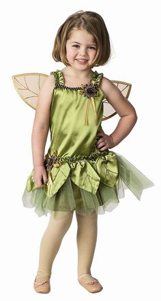 So Sweet!  This adorable Garden Fairy dress is great for pretend play.  Includes:  Dress with satin front & soft knit back, detachable wings, glitter and flower appliques.