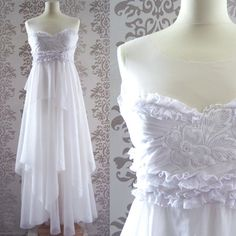 LIKE IT.  LAURA White Ivory Floral Embroidery Ruffle Romantic by FoldedRoses, $230.00
