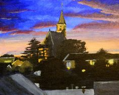Moerkapelle skyline by Gertjan van Klaveren   acrylic painting