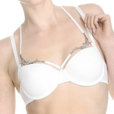 white temple wired padded plunge balcony bra 161711 white
