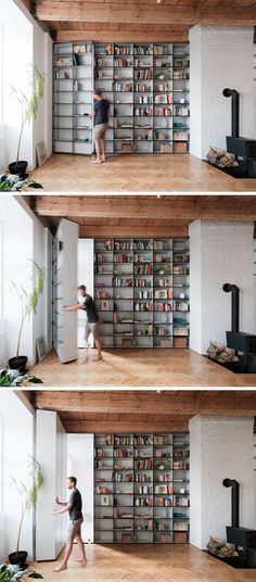 Trendy home library interior secret rooms Floor To Ceiling Bookshelves, Apartment Bookshelves, Office Bookshelves, Basement Ceilings, Apartment Door, Bookcase Door, Bookshelf Wall, Furniture For Small Spaces, Space Furniture