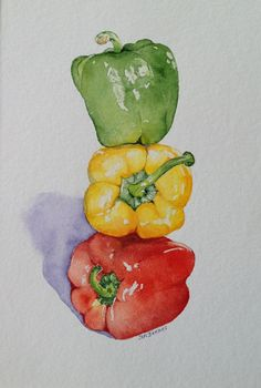 Glossy peppers by Judith Jerams. I want appetizing food art in my kitchen to get… Glossy peppers by Judith Jerams. I want appetizing food art in my kitchen to get me in the mood to eat! (As if I need another excuse to eat. Painting & Drawing, Fruit Painting, Watercolour Painting, Food Art Painting, L'art Du Fruit, Fruit Art, Fruit Water, Watercolor Fruit, Watercolor Flowers