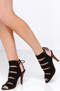 Cute Black Heels - Suede Heels - Shootie Heels - $121.00