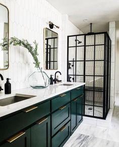 Home Interior Inspiration Interior Desing, Home Interior, Bathroom Interior, Bathroom Green, Master Bathroom, Interior Modern, Interior Colors, Downstairs Bathroom, White Bathroom
