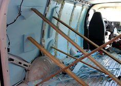 insulation propped up gmc savana van conversion Van Conversion Walls, Diy Van Conversions, Camper Conversion, Van People, Chevy Express, Diy Camper, Campervan, Van Life, Motorhome