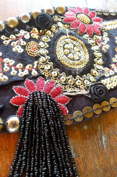 Gypsy Style Patchwork Tribal Belly Dance Belt in Black and Red on Etsy, $132.05