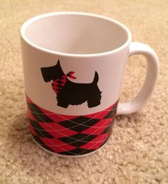 Scottish Terrier, Scottie Dog Plaid Tartan Red White Black Coffee Mug #208 #Unbranded