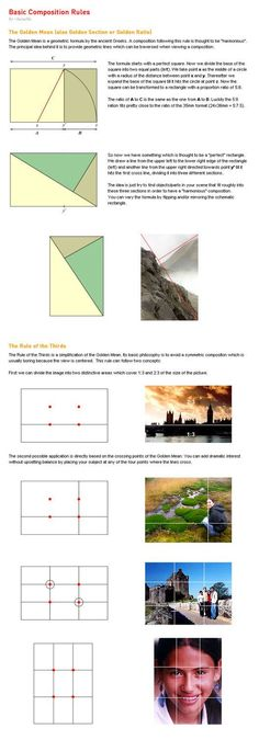 Rule of thirds & Leading lines Basic Composition Rules by ~lucuella on deviantART Photography Cheat Sheets, Photography Basics, Photography Lessons, Photography Tutorials, Digital Photography, Photography Composition Rules, Scenic Photography, Aerial Photography, Night Photography