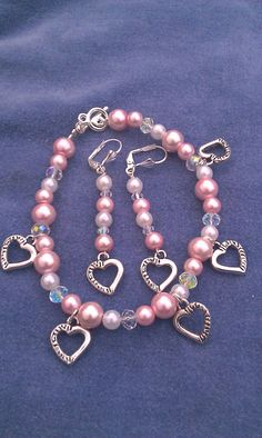 New for Valentines Day!!!Heart silver charms pink white pearl crystal wire by DoubleDzBeadz, $9.00