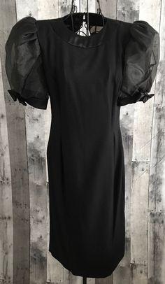 Vintage Maya Jornot for Michael Marcella Black Dress Sheer Sleeves Size 4 #MayaJornotforMichaelMarcella