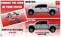 "Pro Comp Lift Kit, 6"" front/ 3"" Rear. Fits Nissan Titan 4WD years 2004-2013. http://www.sdtrucksprings.com/index.php?main_page=product_info&products_id=4245 $1607.89"
