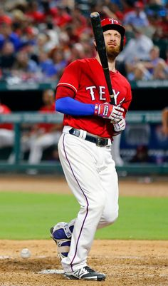 Jonathan Lucroy is hit in the back by a pitch in the fifth inning at Globe Life Park in Arlington, Tuesday, September 20, 2016. (Tom Fox/The Dallas Morning News)