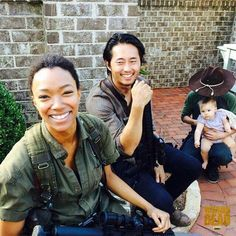 Sonequa Martin Green, Steven Yeun, Chandler Riggs, and little baby who plays Judith!