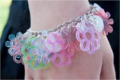 Use your paper cutting machine to cut shapes out of shrink plastic, then make a bracelet!   DIY #ShrinkPlastic