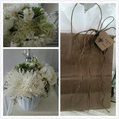 White Floral Arrangement in Milk Glass!
