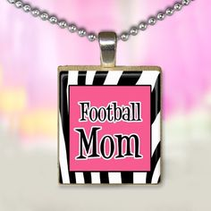 Football Mom Scrabble Tile Pendant Zebra Print Pink. $4.99, via Etsy.