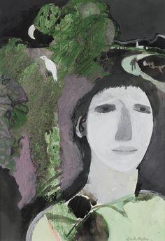 Keith Vaughan (UK 1912-1977) Portrait of a Romantic gouache and pastel 23.5 x 16 cm