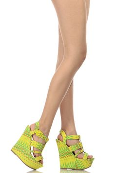 d6799742f97501 Yellow Tribal Print Strappy Platform Wedges   Cicihot Wedges Shoes Store Wedge  Shoes
